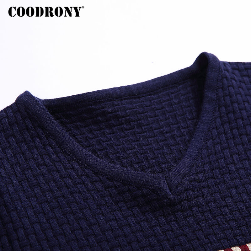 Coodrony Autumn Winter Warm Wool Sweaters Casual Hit Color  Patchwork V-neck Pullover Men Brand Slim Fit Cotton Sweater 155 #5
