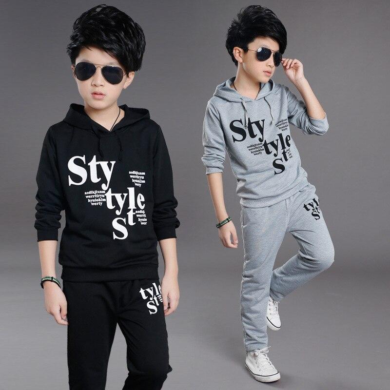 Binhbet Boys Clothing Sets Baby Autumn Sports Casual Long Sleeve Shirt+Pants Kids 2PCS Letter Kids Tracksuit For Boys 4-14Y