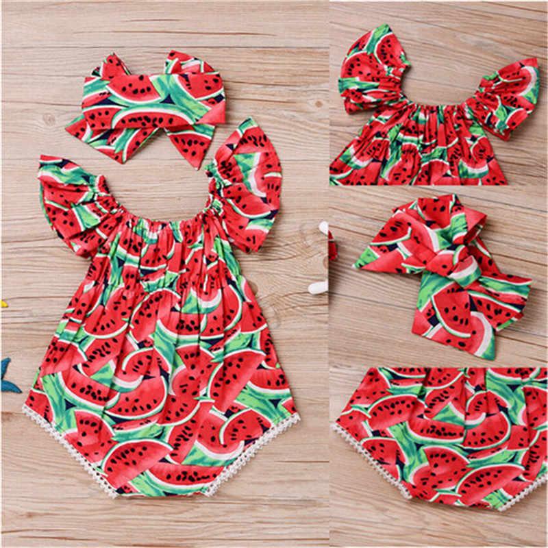 2019 New Baby Girl Bodysuits Cute Newborn Baby Girls Watermelon Bodysuit+Headband Clothes Sunsuit Cotton O-neck Baby Bodysuit