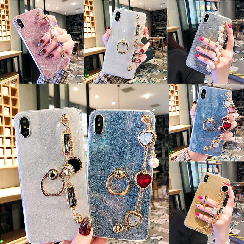 Gliiter Cases For Samsung Galaxy A70 A60 A50 A40 A30 A10 A40S A6S A2 A9s A8S Core Bling Ring Rhinestone Bracelet Covers Bumper