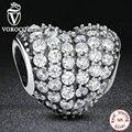 Dazzling 925 caliente de la manera en forma de corazón del encanto fit pandora pulsera con clear cubic zirconia jewelry making ps056