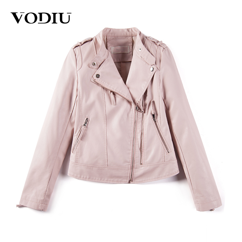 Vodiu Faux Leather Coat Women Leather Jacket Bomber Jacket Solid Epaulet Leather Jackets ...