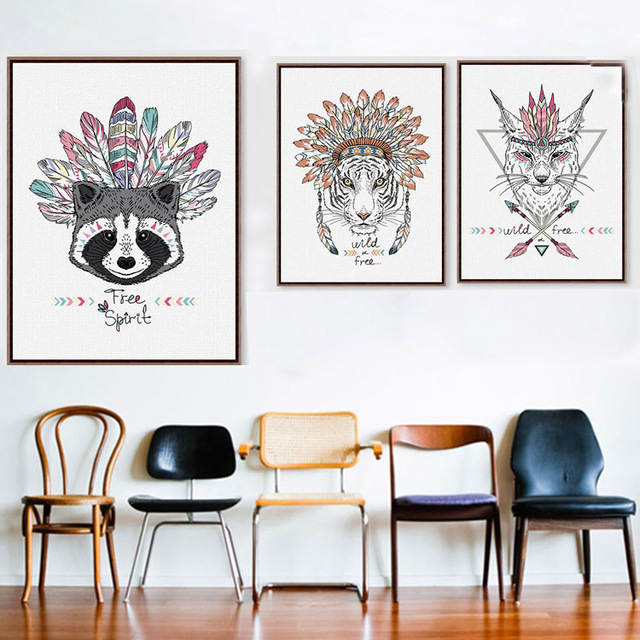 Modern Hippie Indian Animals Canvas Poster Fashion Frameless Hanging Print Picture Kid Baby Room Wall Decor
