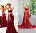 2016 горячий красный золотые аппликации вечерние платья Арабский Индии стиль бисера оборками знаменитости пром платья бесплатная доставка реального образца