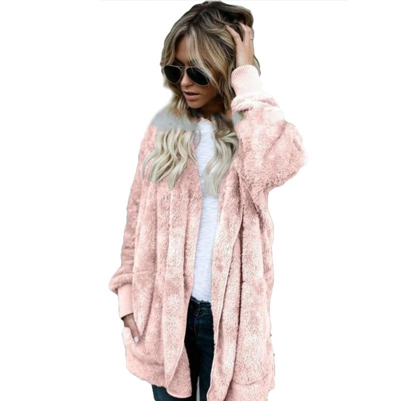 Winter Frauen Casual Pelz Strickjacken Jacke Flauschigen Übergroßen Lose Lange Warme Outwears Taschen Weibliche Pullover Mantel S-XXXL
