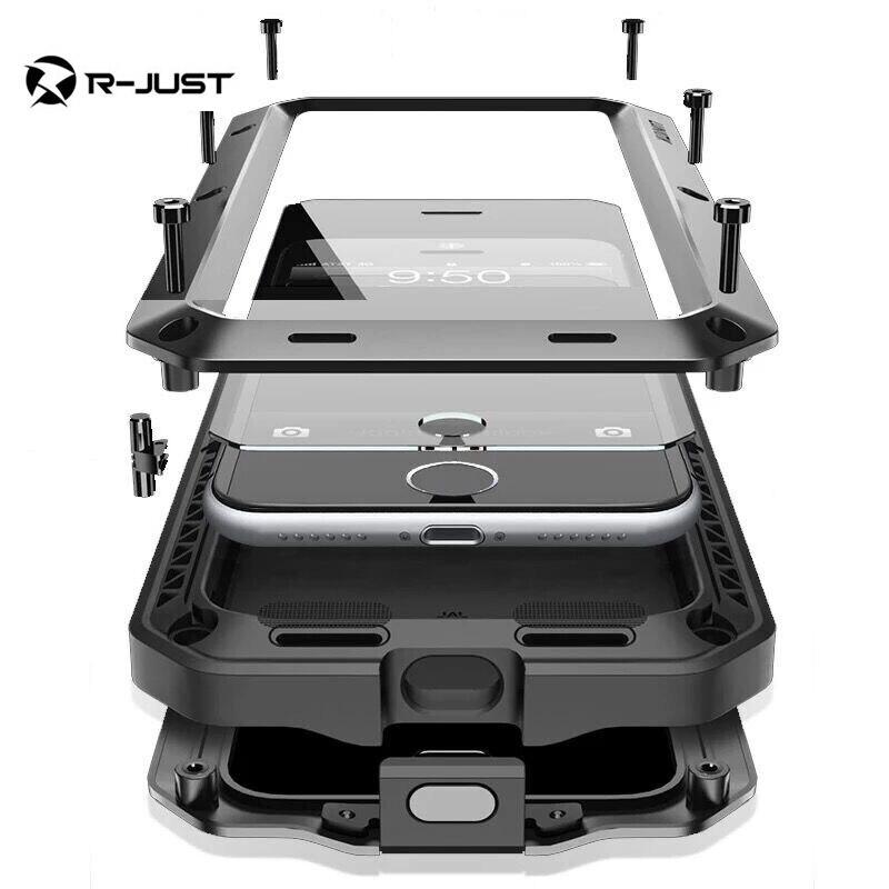 imágenes para I7 I7 más caso armor Dirt Choque Impermeable de Aluminio del Metal caja del teléfono celular Para el iphone 7 plus 7 + Templado vidrio