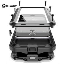 R-JUST металл + Чехол Armor Грязь Шок Водонепроницаемый металла Алюминий сотовый телефон чехол для iPhone X 7 78 Plus + закаленное стекло