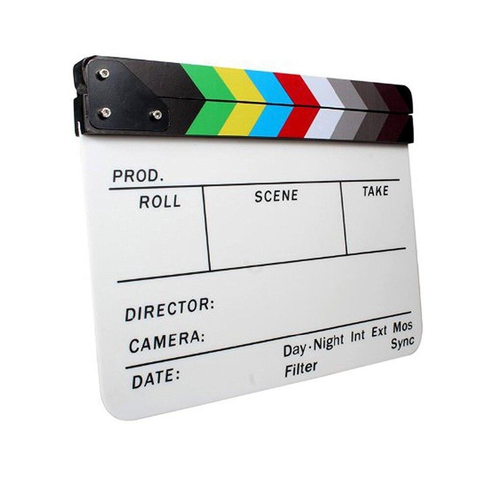 ASHANKS Coloré Clapper Board Clins Acrylique Effaçable À Sec Directeur TV Film Film D'action Slate Clap Coupé À La Main Prop