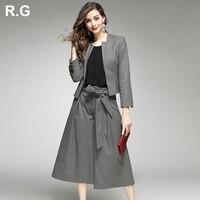 RG элегантный Для женщин шерстяной Блейзер брюки костюмы кашемировые пальто куртки Широкие штаны комплект из 2 частей ПР Леди Повседневная о