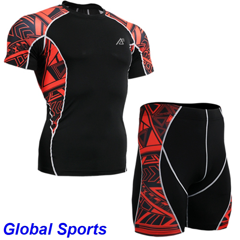 cross ride fitness Compression Base Layer sets hiking camping Tights running shorts men slim fit shirt mens clothing 4xl