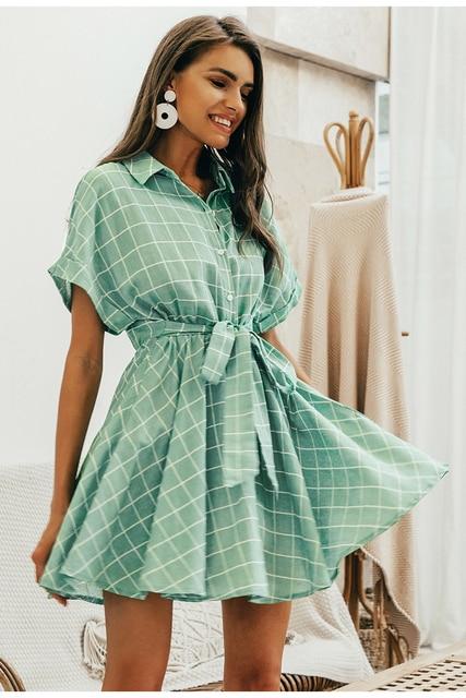 Vestido corto verde cuadros manga corta verano 3