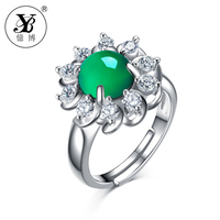 YB Natural Green Chalcedony Flower Ring Natural Stone Adjustable Ring Mother Gift 925 Sterling Silver Fine