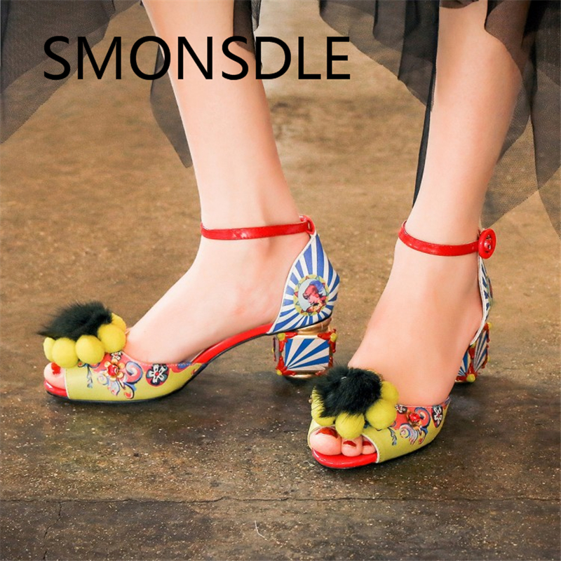2018 Summer New Retro Women Genuine Leather Sandals Peep Toe Buckle Strap Print Flower Crystal Square Heel Handmade Shoes Woman xiaying smile summer woman sandals square cover heel woman pumps buckle strap fashion casual flower flock student women shoes