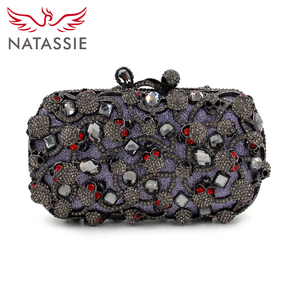 ФОТО NATASSIE Women Skull Gold Bags Ladies Evening Clutch Bag Female Party Fashion Purses
