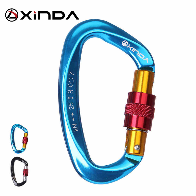 XINDA Professional Rock Climbing Carabiner 25KN D-Shape Screw Gates Lock Aluminum Alloy Mountaineer Outdoor Equipment