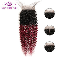 Soft Feel Hair Ombre Brazilian Kinky Curly Closure 1B/Burgundy Remy Human Hair Lace Closure 99J 4x4 Ombre Closure With Baby Hair(China)