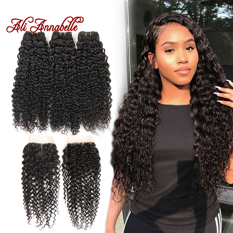 ALI ANNABELLE HAIR Brazilian Kinky Curly Human Hair Bundles With Closure Brazilian Remy Hair 4 Pieces Pack Free Part Closure