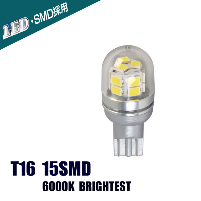US $8 34 40% OFF|Aliexpress com : Buy T16 LED Automobile Reverse Lights LED  Cars Bulbs Super Brights 15SMD White 6000K DC12V 32V from Reliable car