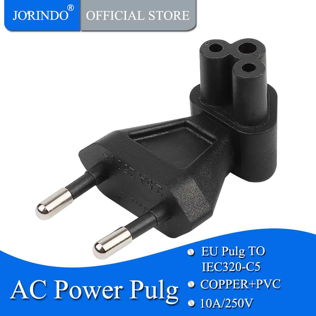 JORINDO EU TO IEC320 C5 Power conversion plugs ,European 2 Pin Male to IEC 320 C5 Right Angle Power adapter image