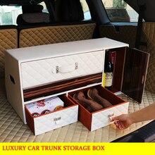 Роскошные багажник автомобиля коробка для хранения багажнике Организатор чехол для Benz s300 s600 s500 Bmw e40 e60 e36 e90 Audi Landrover jaguar peugeot
