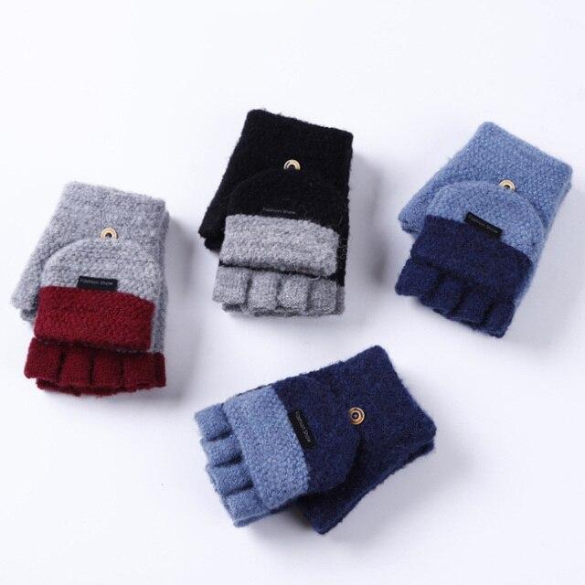 Knitted Fingerless Gloves Autumn Winter Warm 5