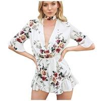 Women Floral Print Ruffles Playsuits Women Boho Elegant Autumn White Deep V Neck Jumpsuits Rompers Sexy Beach Girls Short Over