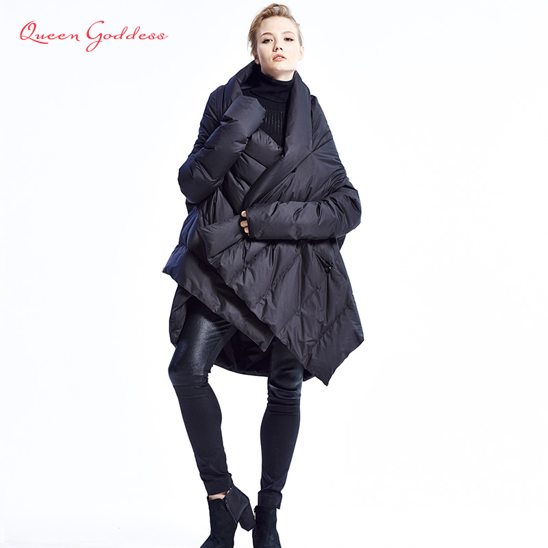 2017 New Fashion Women's Down Jacket Cloaks European Designer Asymmetric Length Winter Coat Female Parkas plus size outwear