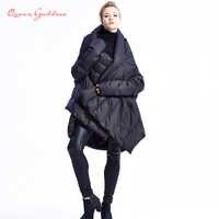 2019 neue Mode frauen Unten Jacke Mäntel Europäischen Designer Asymmetrische Länge Winter Mantel Weibliche Parkas plus größe outwear
