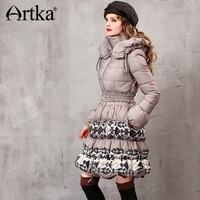 Artka Women S 2015 Winter Vintage Long Section 90 White Duck Coat Long Sleeved Comfortable Slim