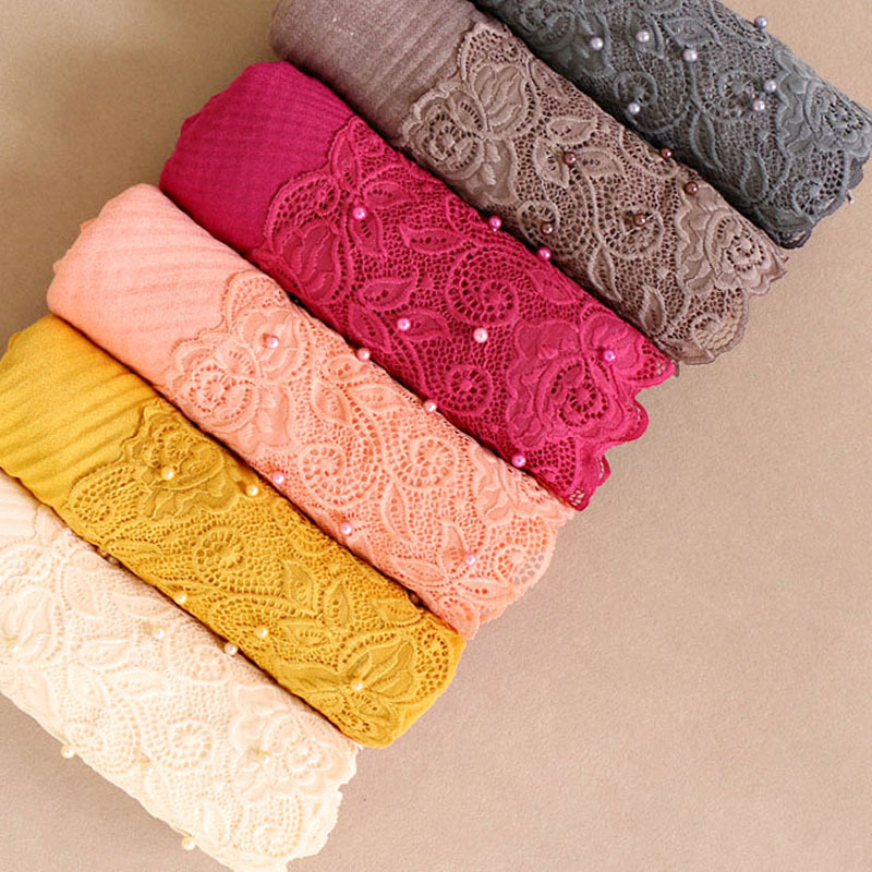 Beautiful Lace Embroidery Edges Cotton Hijab Winter Plain Muslim Crumpled Scarf With Pearl Women Long Wrap