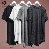 HZIJUE alibaba уличная хипстерская мужская одежда kanye west одежда мужская с изогнутым подолом рваная футболка рубашки удлиненная состаренная футбо...