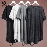 Alibaba Streetwear Hipster Men Clothes Kanye West Clothing Mens Curved Hem Ripped Tee Shirts Extended Distressed