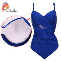 Andzhelika Sexy One Piece Swimsuit Women Summer Beachwear Vintage Mesh Swimwear Bathing Suits Bodysuit Monokini Plus
