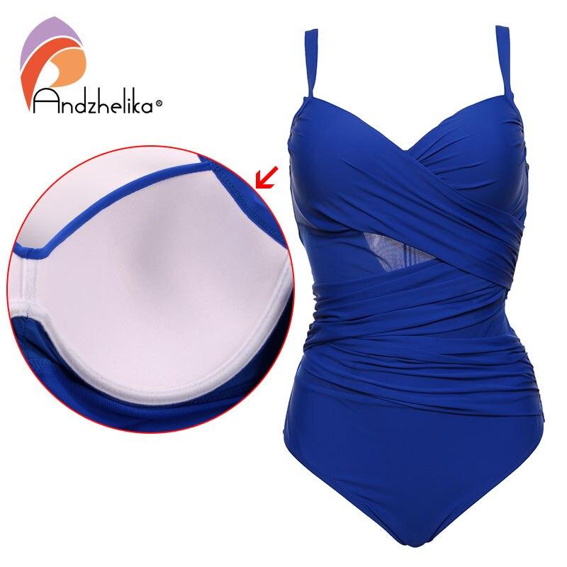 где купить Andzhelika Sexy One Piece Swimsuit Women Summer Beachwear Vintage Mesh Swimwear Bathing Suits Bodysuit Monokini Plus Size по лучшей цене