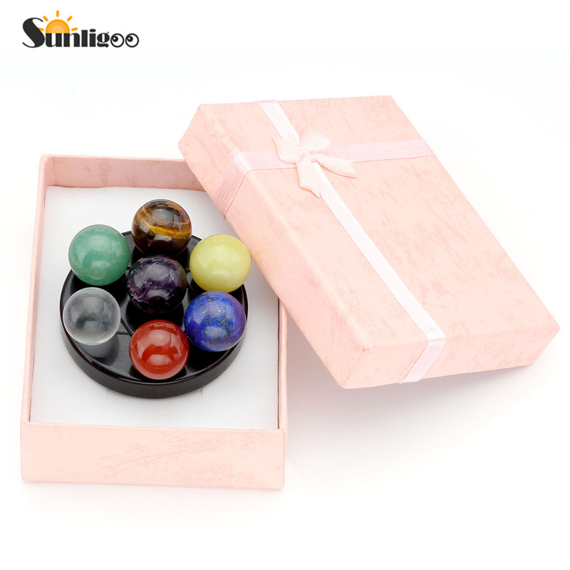 Sunligoo nyeste mode Seven Star Group Natural Amethyst Chakra Crystal Sphere Ball med sort Obsidian Stand With Box