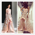 Sexy High-Low Evening Dresses 2017 Appliques Lace Arabic Prom Party Gowns Sweetheart Long Blush Pink Formal Dresses Plus Size