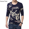 Free Shipping 2017 Men Long Sleeve Dress T Shirts Fashion Deer Printing Slim Fit Casual Brand Cotton Tees Plus Size:M~XXXXXL 155