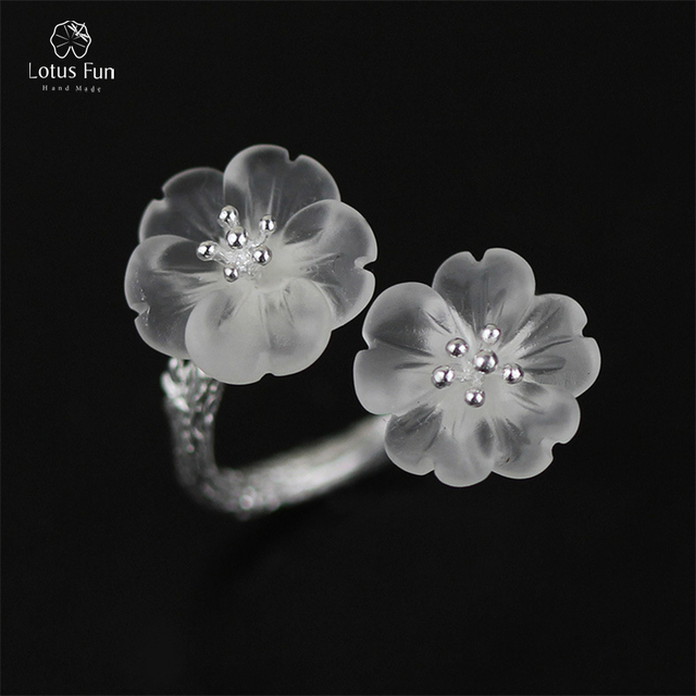 Lotus fun real 925 sterling silver rings for women new natural lotus fun real 925 sterling silver rings for women new natural crystal stone double flower band mightylinksfo
