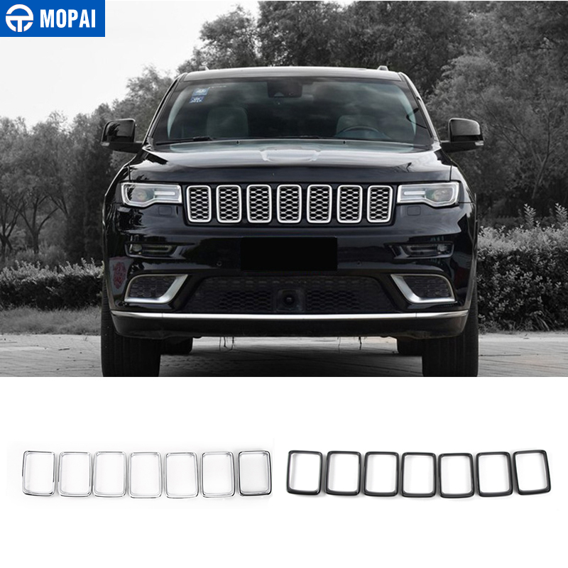 MOPAI ABS Car Interior Insert Front Grille Decoration Ring Cover Sticker For Jeep Grand Cherokee 2014 Up Car Styling abs chrome front head light eyelid cover trim for jeep grand cherokee 2014 2015