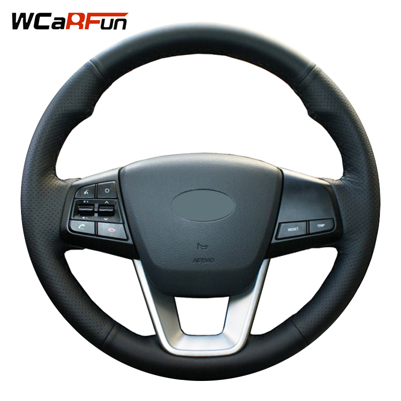 WCaRFun Hand-stitched Black Artificial Leather Auto Car Steering Wheel Cover for Hyundai ix25 2014 2015 2016 Creta 2016 2017