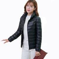 Female Warm Jackets Plus Size 5XL 6XL 2018 Spring Autumn Fashion Womens Duck Down Coat Long Sleeve Stand Neck Ladies Slim Jacket