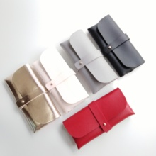 100% handcrafted PU leather oversize sunglass soft pouch with velvet lining slip-in case spectacle box