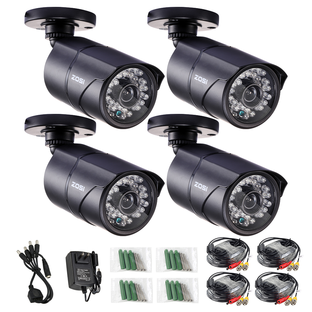 ZOSI Metal Case CCTV Camera Analog 4pcs 1000TVL IR Cut Day/Night Vision Outdoor Waterproof Bullet Camera Surveillance Kit cctv camera waterproof outdoor housing array led light cctv camera aluminium alloy metal case cover