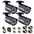 ZOSI Metal Case CCTV Camera Analog 4pcs 1000TVL IR Cut Day/Night Vision Outdoor Waterproof Bullet Camera Surveillance Kit