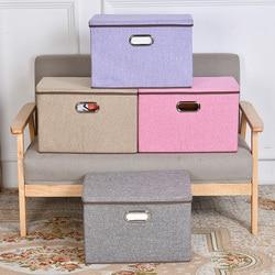 Folding Cotton Linen Fabric Storage Bins Closet Cubes Bins Organizer Kid Toy Storage Box Offices For Home Storage Organization