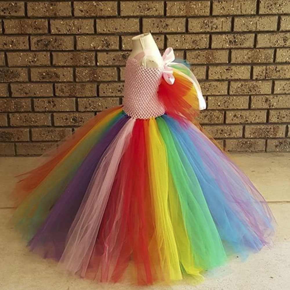 Toddler Girl Party Clothing Fluffy Lace Rainbow Birthday Prom Princess  Dresses Universal Kids Fashion Colorful Clothes New Brand-in Dresses from  Mother ... f42461beccb5