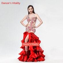 Роскошное платье ручной работы с бриллиантами для танца живота для женщин/девочек, конкурс танца живота, одежда