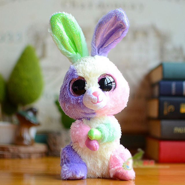 2902313510b In Stock Original Ty Beanie Boos Big Eyed Stuffed Animal Bloom the Rabbit  Bunny Plush Doll Kids Toy 6   15cm Birthday Gift