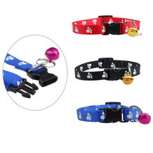 3 colors New Fashion Adjustable Nylon Footprints Collar Dog Puppy Pet Collars With Bells blue/red/black(China)