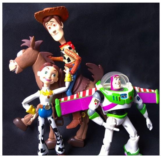 4 pçs/set Anime Toy Story 3 Buzz Lightyear Woody Jessie PVC Action Figure Collectible modelo Toy crianças 14.5 - 18 cm KT443